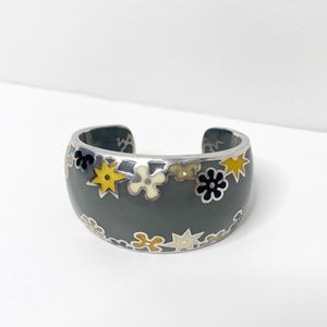 Alan K Designo Floral Enamel Silver Cuff Bracelet